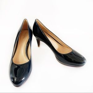 Cole Haan Navy Blue Patent Leather Heels Pumps 7AA